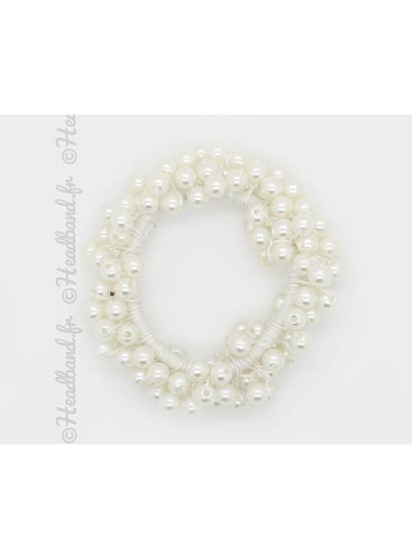 Chouchou cheveux en perles blanc