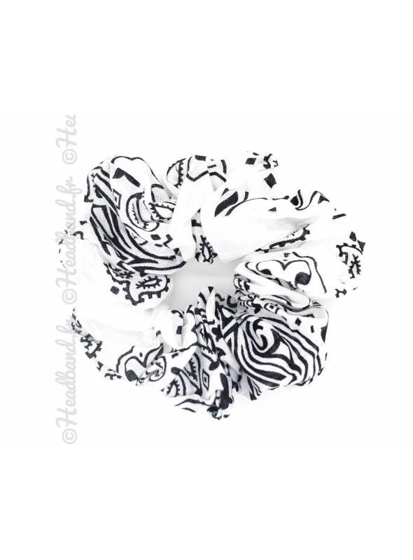 Chouchou en coton motif paisley blanc