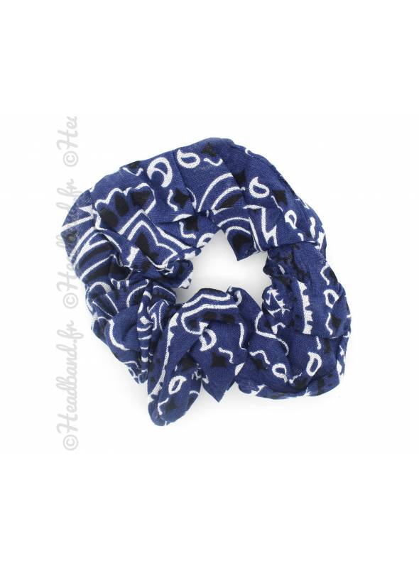 Chouchou en coton motif paisley bleu