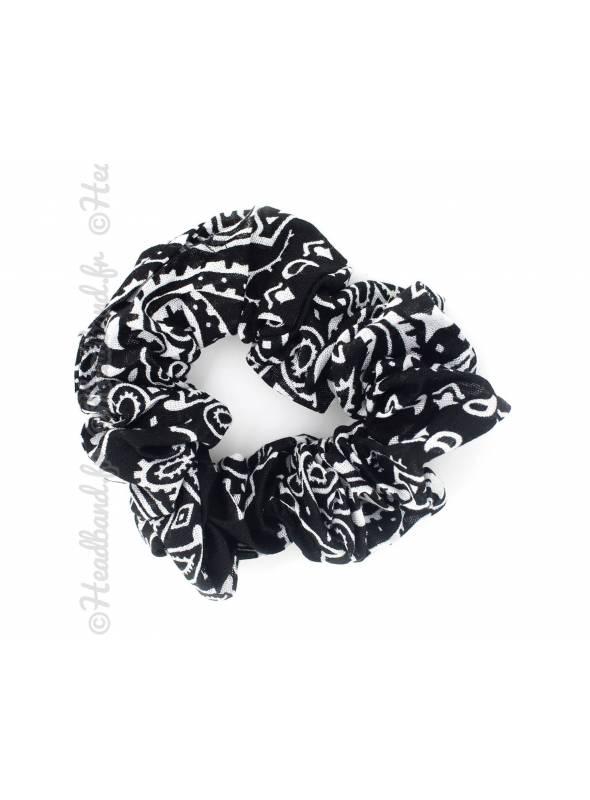 Chouchou en coton motif paisley noir
