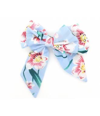 Maxi-barrette noeud fleurie bleu ciel