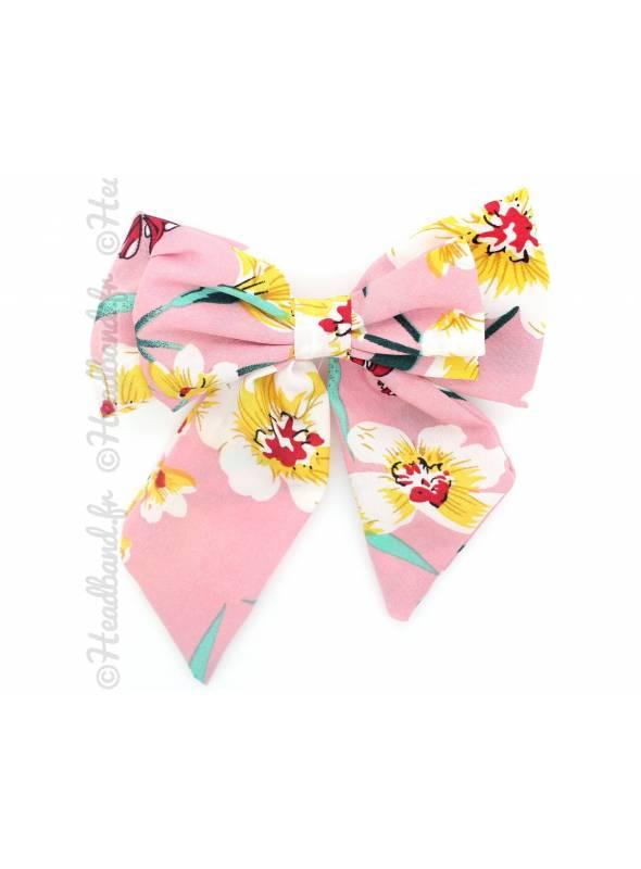 Maxi-barrette noeud fleurie rose