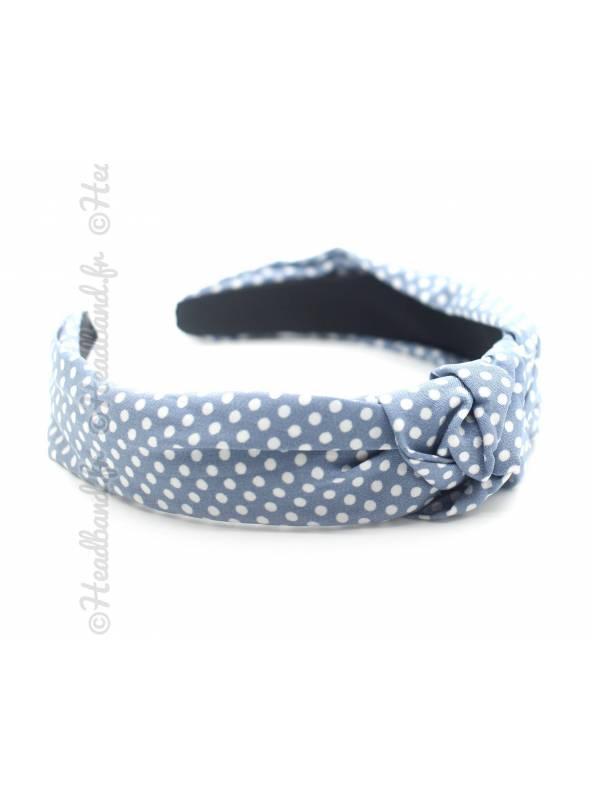 Serre-tête turban pois bleu clair et blanc
