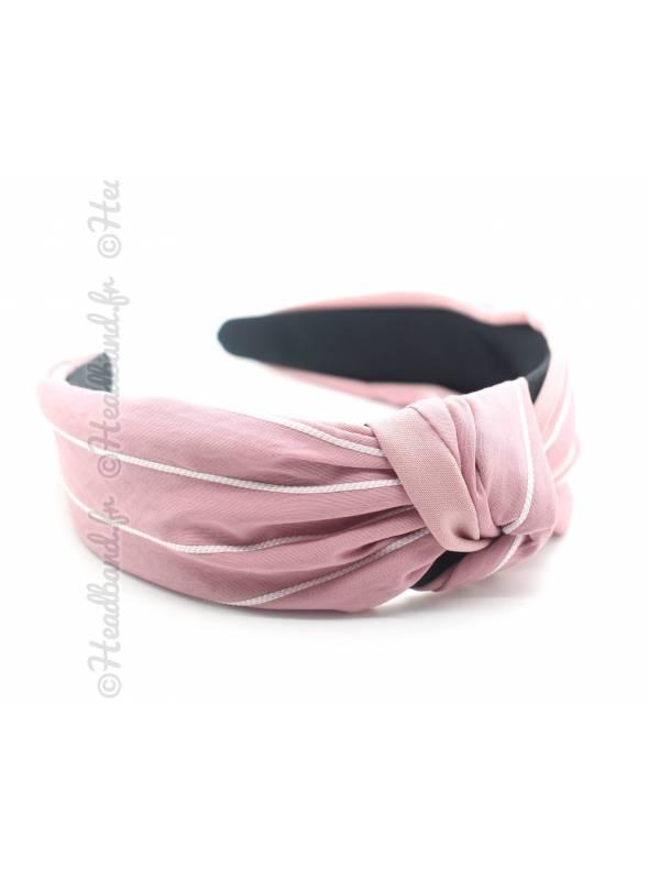 Serre-tête noué turban uni rose