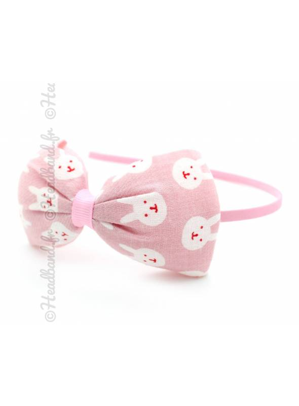 Serre-tête fille noeud motif lapin rose