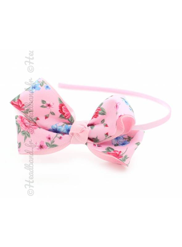 Serre-tête noeud ruban fleur rose