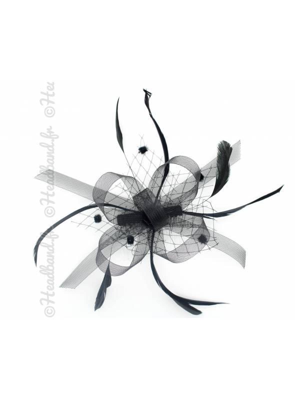 Bibi rétro noir avec voilette et plumes