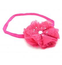 Headband fleur strassée rose foncé porté