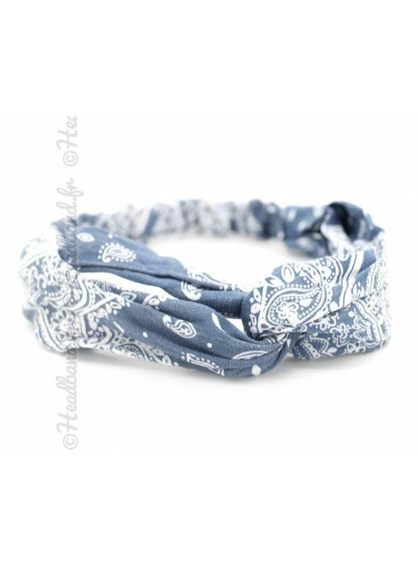 Bandeau croisé motif bandana bleu denim