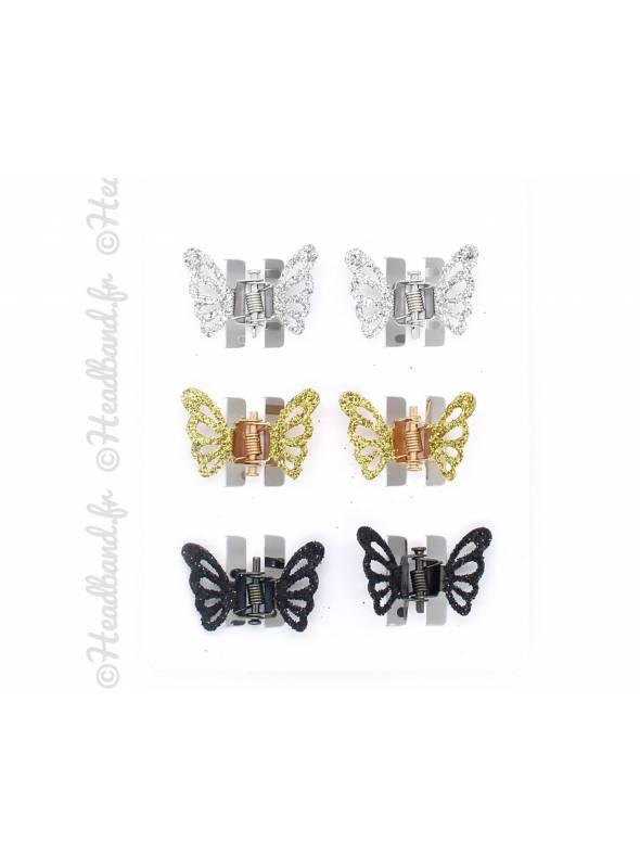Lot de 6 mini-pinces papillon à paillettes