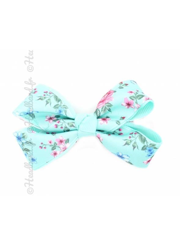 Pince clip noeud ruban motif fleur vert d'eau