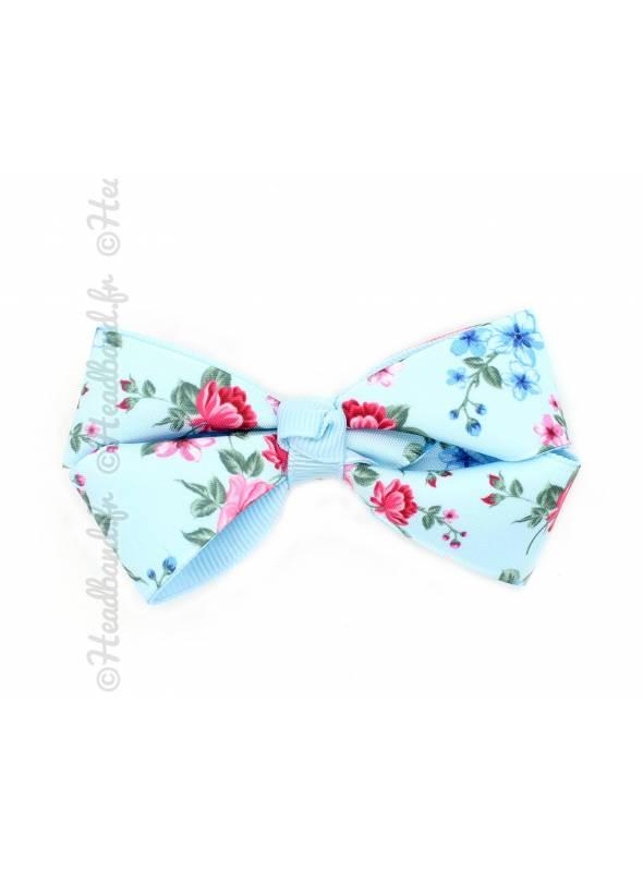 Pince clip noeud ruban motif fleur bleu ciel