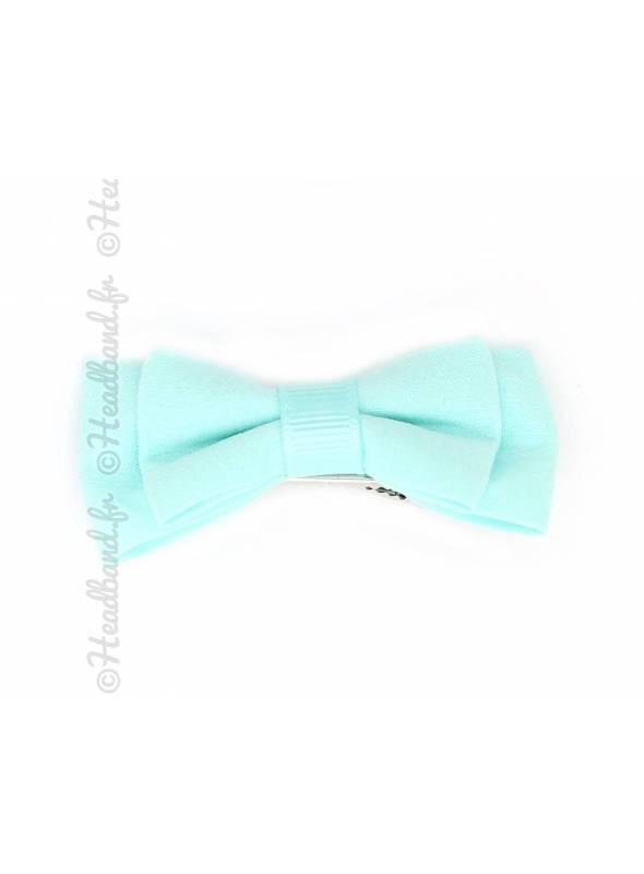 Pince clip double noeud 6 cm vert d'eau