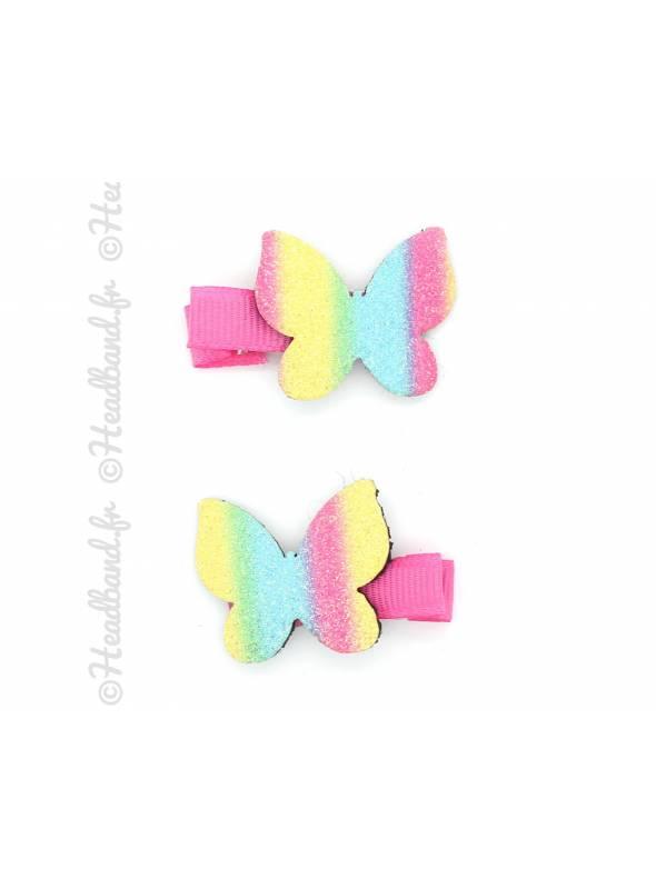 Lot de 2 pinces papillon glitter rainbow