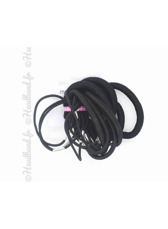 Lot de 18 élastiques à cheveux noir