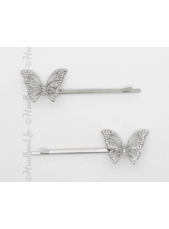 Lot de 2 pinces papillon métal strass argenté