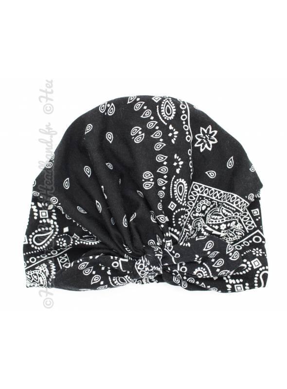 Turban noeud à motif bandana noir