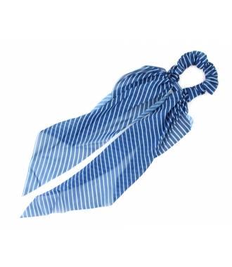 Chouchou foulard rayé bleu en satin