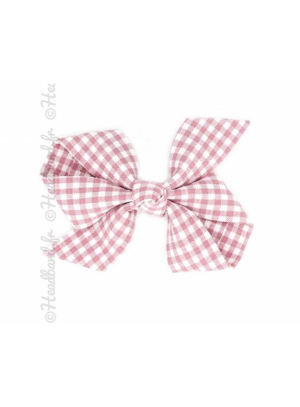 Pince clip noeud motif vichy rose