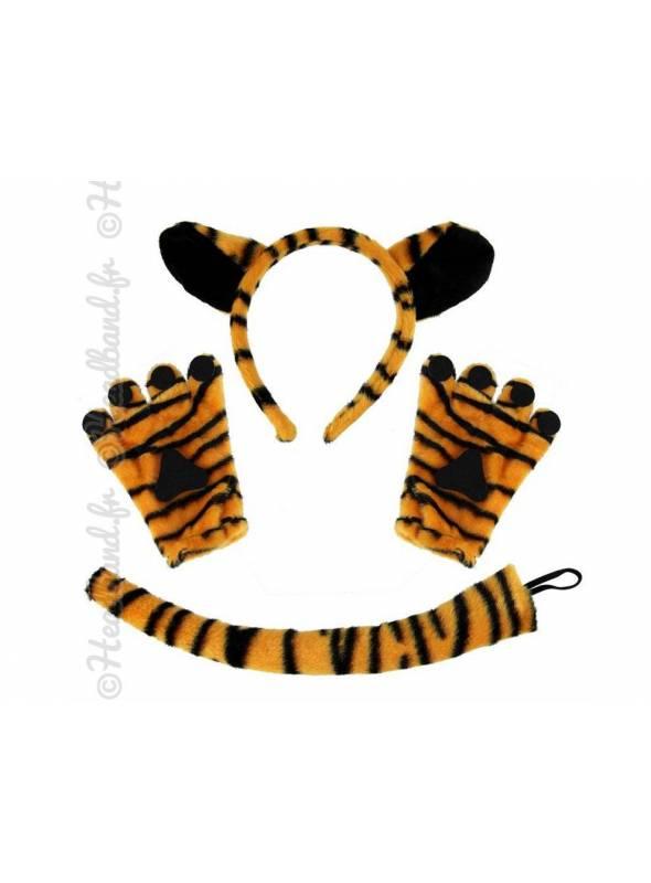 Serre-tête mitaines et queue de tigre enfant