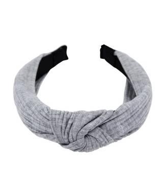 Serre-tête turban côtelé gris clair