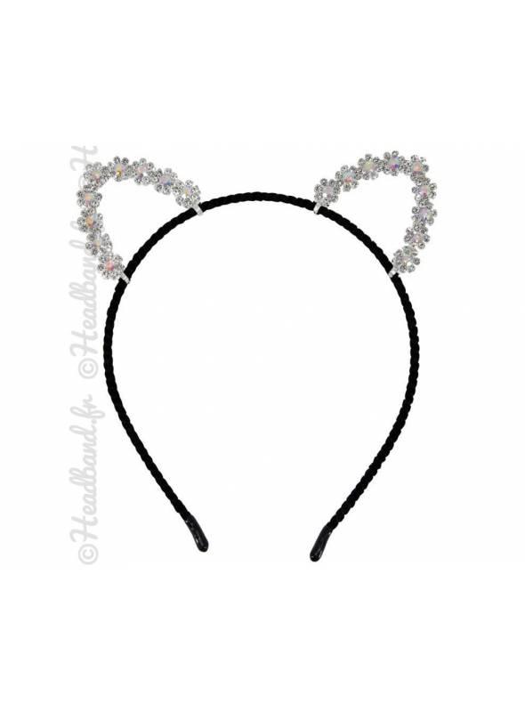 Serre-tête oreilles de chat fleurs strass