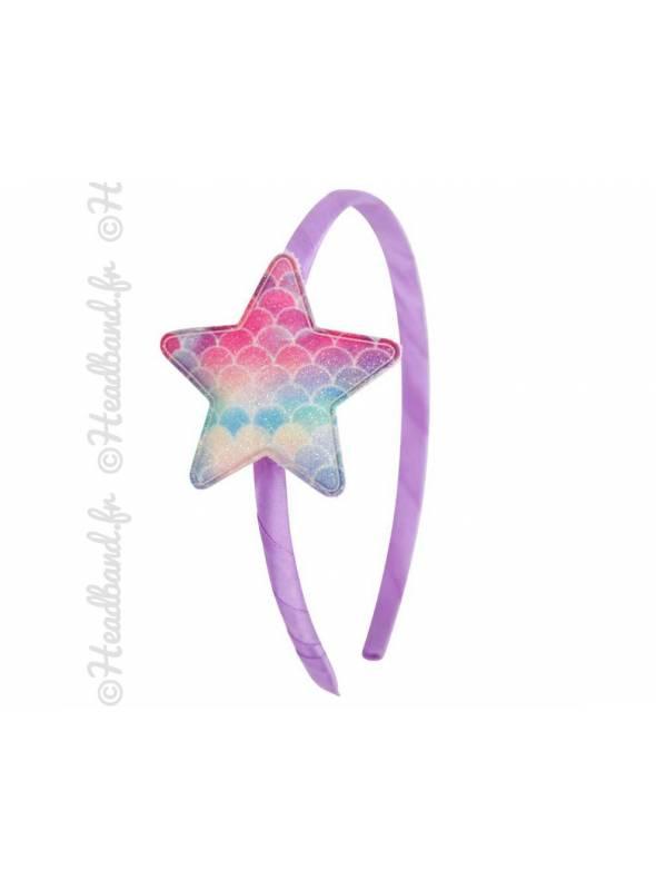 Serre-tête fille étoile multicolore pailletée