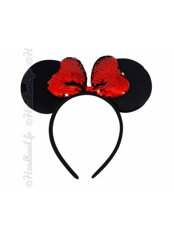 Serre-tête Minnie Mouse noeud rouge à sequins