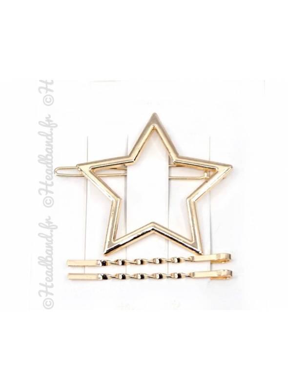 Barrette métal étoile doré