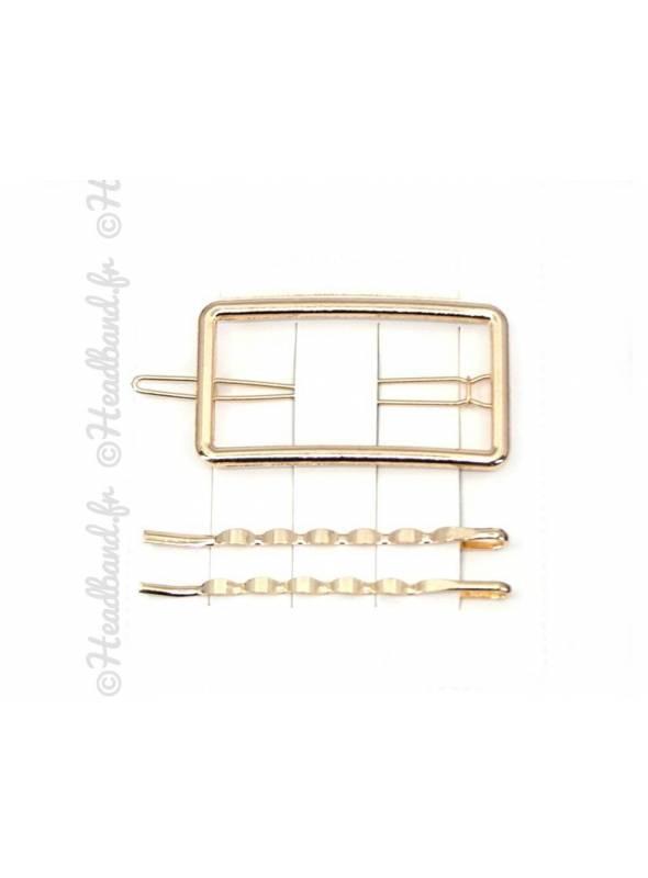 Barrette métal rectangle doré