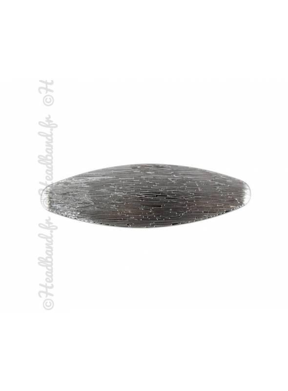 Pince ovale à cheveux striée argent