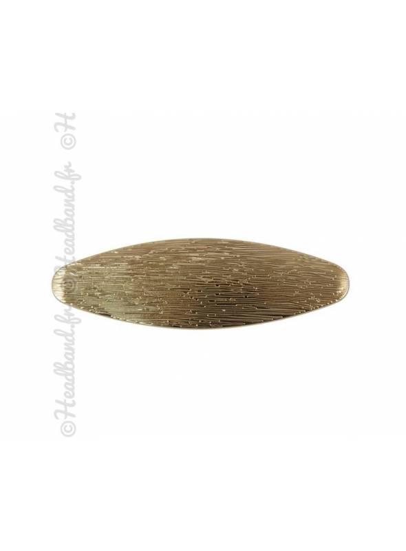 Pince ovale à cheveux striée doré