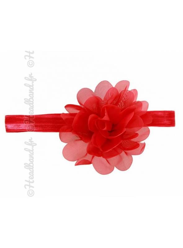 Bandeau fleur 9 cm en mousseline rouge