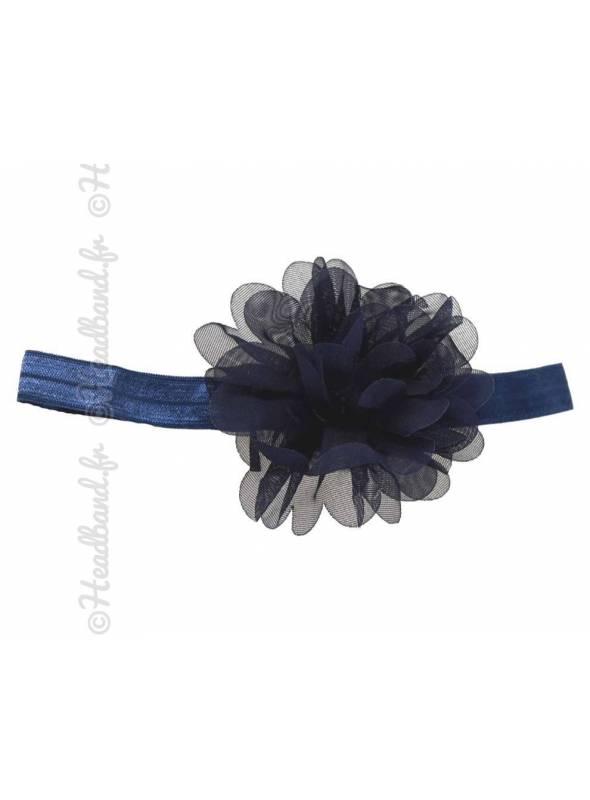 Bandeau fleur 9 cm en mousseline bleu