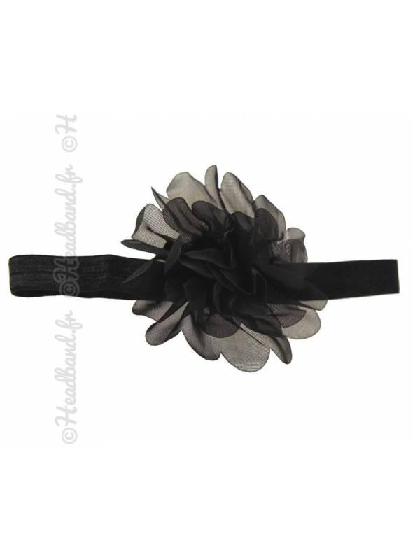 Bandeau fleur 9 cm en mousseline noir