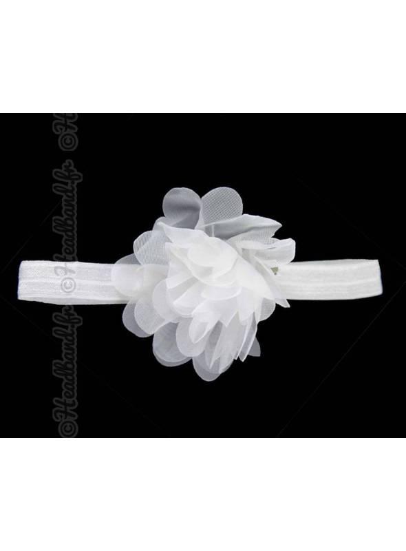 Bandeau fleur 9 cm en mousseline blanc