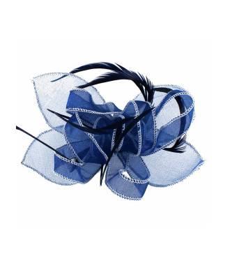 Bibi avec barrette organza bleu