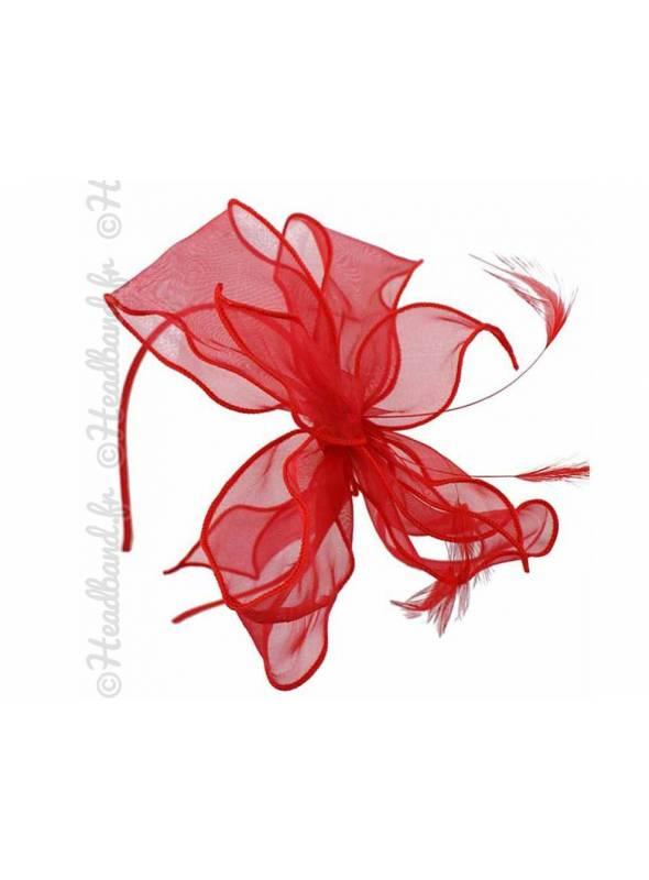 Serre-tête gros noeud organza rouge
