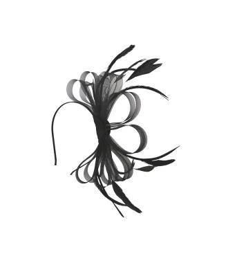Serre-tête ruban et tulle plumes noir