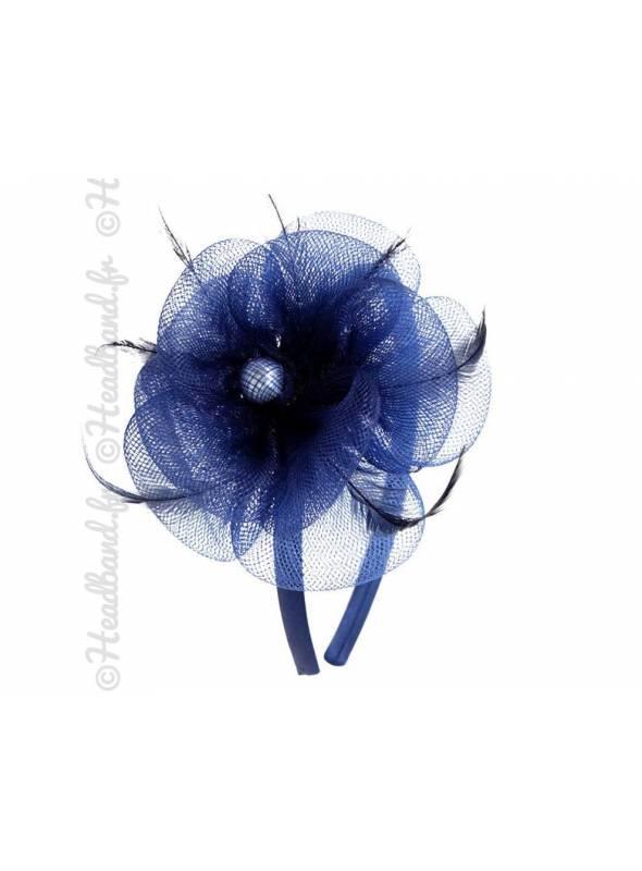 Serre-tête applique fleur en tulle bleu