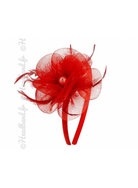 Serre-tête applique fleur en tulle rouge