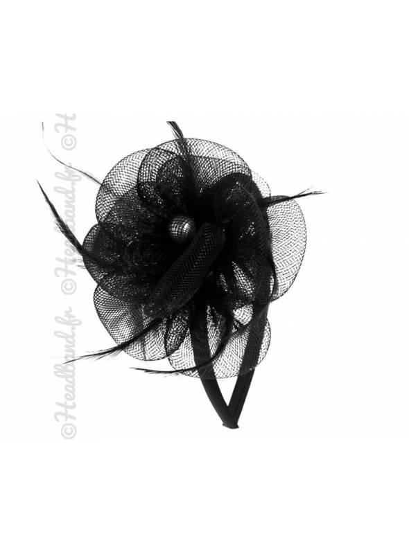 Serre-tête applique fleur en tulle noir