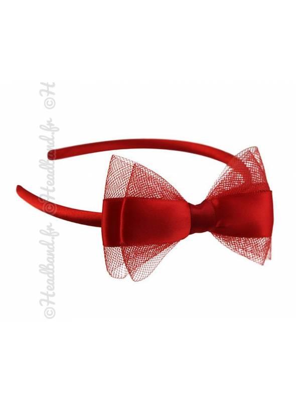 Serre-tête noeud tulle et satin rouge