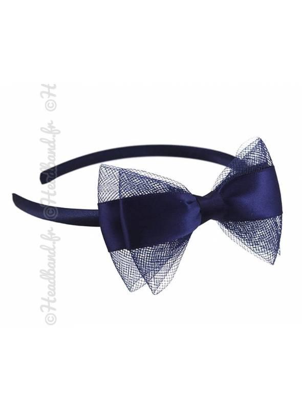 Serre-tête noeud tulle et satin bleu