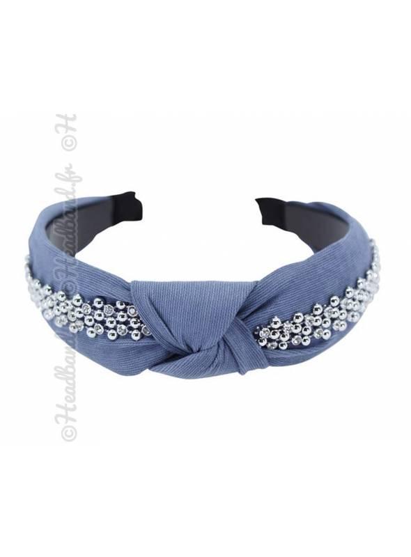 Serre-tête turban bande strass bleu denim