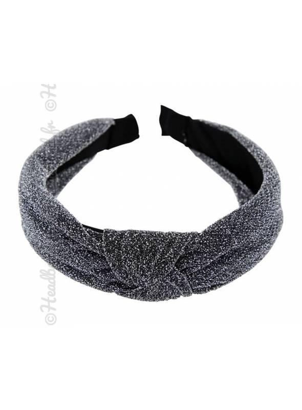 Serre-tête turban brillant argenté