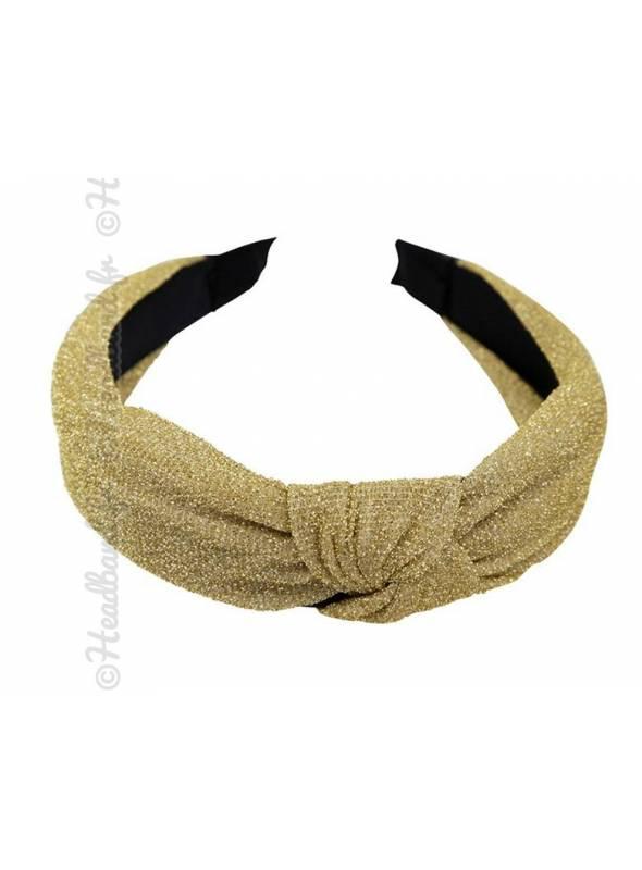 Serre-tête turban brillant doré