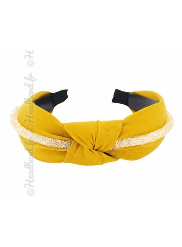 Serre-tête bijou turban moutarde
