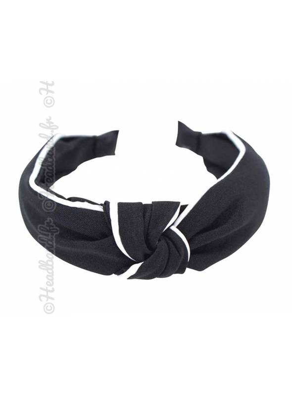 Serre-tête noué en coton uni noir