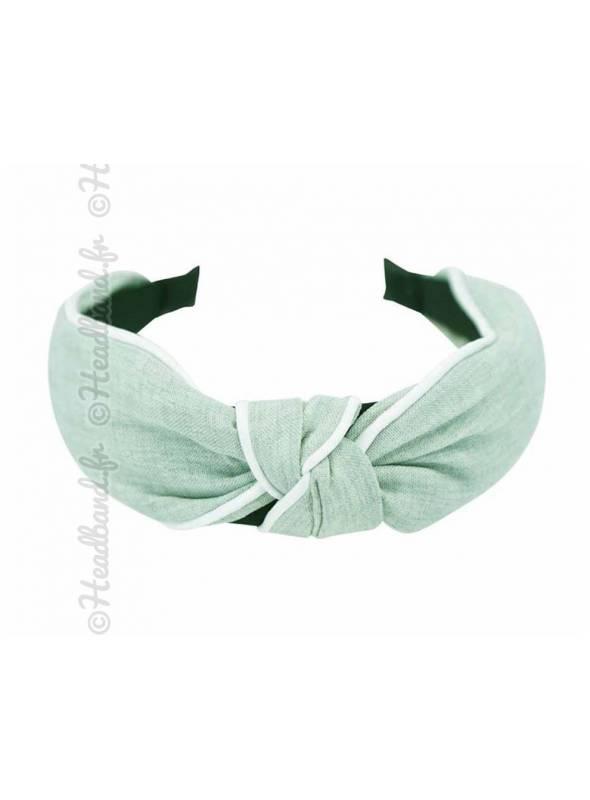 Serre-tête noué en coton uni vert